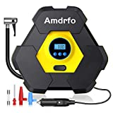 Portable Air Compressor Pump, AMDRFO Easy to Use Tire Inflator, Fast Inflating Tire Pump,12V 150 PSI Auto Digital Tire Inflator with Emergency Led Lighting and Long Cable for Car - Bicycle - and other