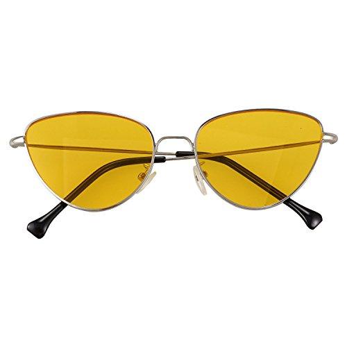 gato estilo TOOGOO reflexivas verano S17011 de retro de de senora de Gafas sol de ojo neutrales moda Amarillo Rojo de gafas ArPYnfwrqx