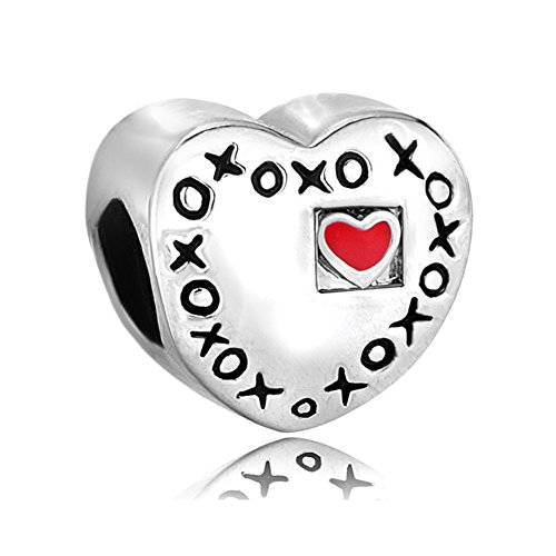 Hugs And Kisses Bouquet (QueenCharms Sweet Wedding Charm For Bride & Groom XOXO Hugs & Kisses Beads For Bracelets)