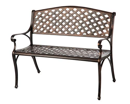Patio Sense 61491 Aluminum Patio Bench, Antique Bronze