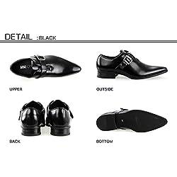 MM/ONE Men's Monkstrap Dress Shoes pointed toe belt , Black , 44 EU (US Men's 10.5 M)