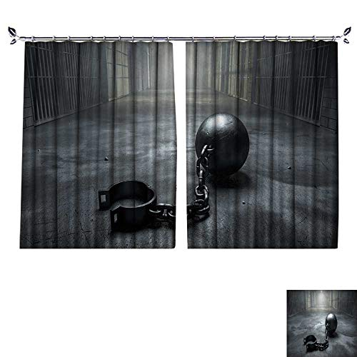 DESPKON Non-humidifying and Breathable Style A Vintage Ball and Chain with an Open Shackle on an Old Prison Cell Block Floor lit for Elegant Floor-Down Window Decoration W108 x -