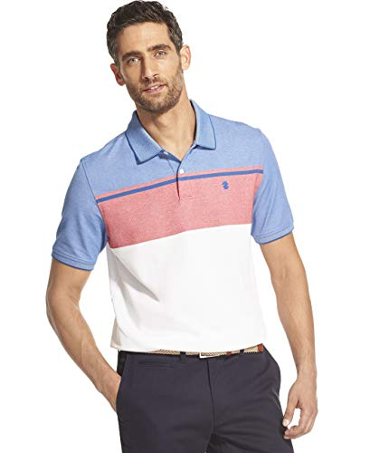 IZOD Men's Advantage Performance Short Sleeve Colorblock Polo, Real Red, X-Large ()