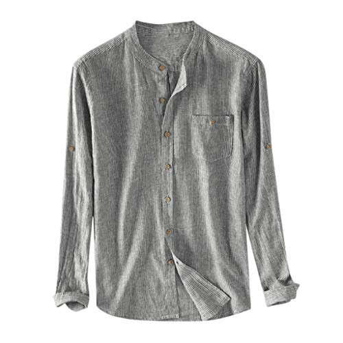 OrchidAmor Men's Boys Baggy Cotton Breathable Striped Button Pocket Plus Size Long Sleeve Shirts 2019 Summer Dark Gray