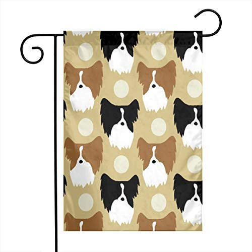 zhua Welcome Garden Flag 12 X 18 Inch Simple Color Papillon Faces - Tan_1263 Polyester Indoor/Outdoor Double Sided Flag Home Yard Decor