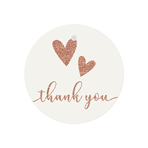 Ivory Custom 2 Ribbon - Andaz Press Bulk Stylish Faux Rose Gold Glitter Thank You Round Circle Gift Tags, 2-inch, Jade Ivory with Double Hearts, 48-Pack