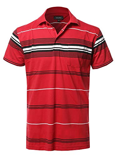 (Casual Stripe Short Sleeve Three Button Polo T-Shirt New Red(Pocket))