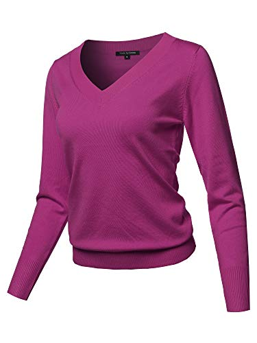 (Casual Premium Quality Thick Neck Line Pullover V-neck Sweater Top Magenta M)