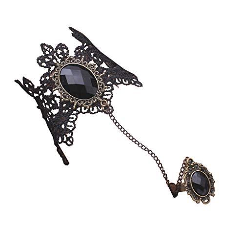 Countonme Handmade Gothic Princess Lolita Retro Lace Slave Vampire Bracelet with Finger Ring Set Wristband Halloween for -