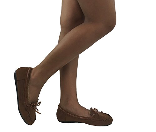 Suede Slippers Moccasin Fur Lined Cozy Chestnut Faux Cozi Womens Hello SwqOfS
