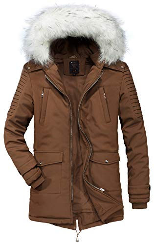 Classic Collar Men's Parka FGYYG Outerwear Fur Brown Pocket Winter Multi Coat Large Size Detachable Jacket Hooded Fashion Windproof Thicken Warm fvqawfRF