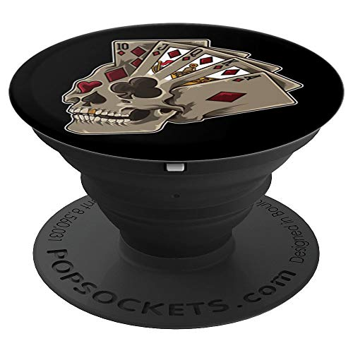 Poker Themed Skull | Casino Theme Party Gift PopSockets Grip and Stand for Phones and Tablets
