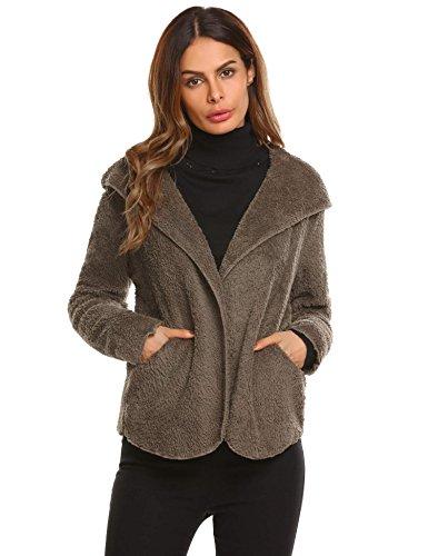 Front Hoodie Cardigan Fluffy Jacket with Pocket Coffee L (Brown Fur Hoodie Jacket)