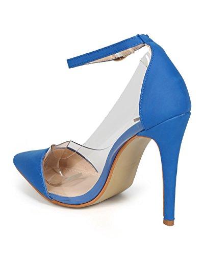 Liliana CF91 Women Nubuck Lucite Pointy Toe Ankle Strap Stiletto Pump - Blue z5o8UuA