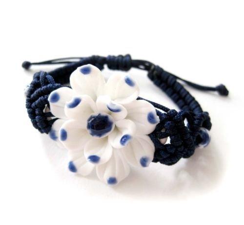 - Gozebra(TM) Porcelain Tibet Buddhist Lotus Bead Beads Bracelet