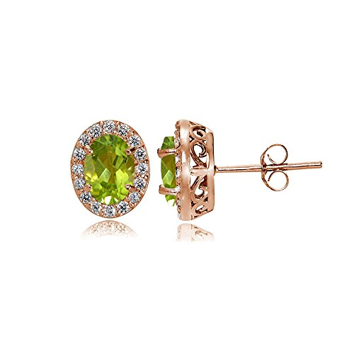 Rose Gold Flashed Sterling Silver Peridot and Cubic Zirconia Accents Oval Halo Stud - Peridot Oval Earrings Gold