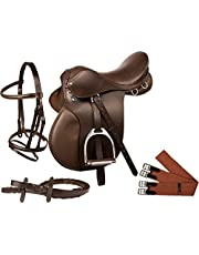 """Manaal Enterprises All Purpose Premium Leather Jumping English Riding Horse Saddle Get Matching Leather Bridle, Reins, Stirrup, Iron Stirrup, & Girth Size 14"""" to 18 Inch Seat Avail"""