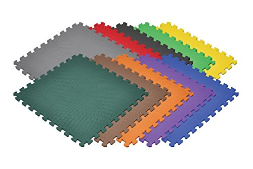 Norsk Non-Toxic Solid Color Foam Mats - EVA Foam Interlocking Tiles (Norsk Reversible Multi Purpose Flooring 8 Pack)