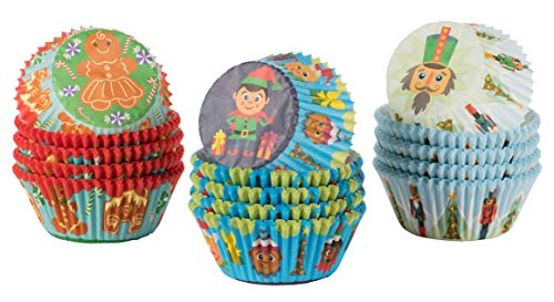 Christmas Cupcake Liners - 300-Piece Holiday Baking Cups, Muffin Wrappers, 3 Assorted Designs Including Christmas Elf, Gingerbread Man, and Nutcracker, Standard Sized