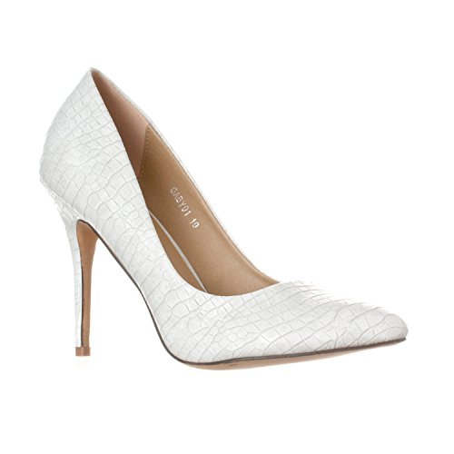 Riverberry Women's Gaby Pointed Closed Toe Stiletto Pump Heels, Grey Croc, 6.5
