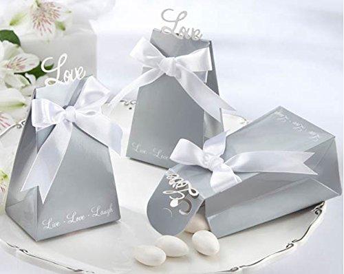 50PCS Silver Gray Love Charm Wedding Favor Box Bomboniere White Ribbon Bow Candy Gift Bag Chocolate Box Wedding Birthday Shower Decoration -