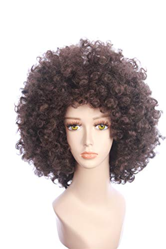 fbewig:Domino of Deadpool 2 Inspired Brown Fluffy Curly Alfro Bob Wig Anime Cosplay Halloween Costume Wig for Women and Teens ()