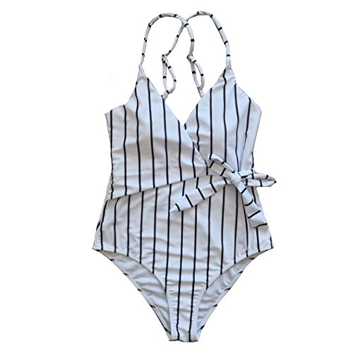 iece Stripe Monokini Bikini Set Swimwear Beachwear Jumpsuit Sale Clearance (2XL, White) ()