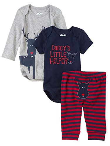Childrens Place Infant Boys 3 Piece Daddys Little Helper Creepers Pants Set 0-3m