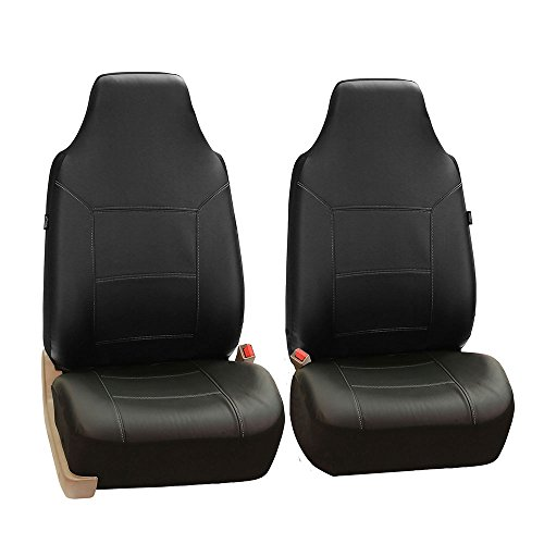 FH GROUP FH-PU103102 High Back Royal PU Leather Car Seat Covers Airbag & Split Black - Back Traditional Leather