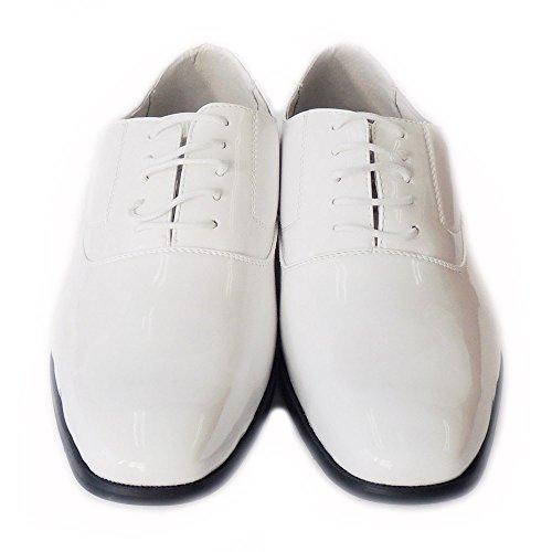 Newdelli Aldo Mens Stringate In Vernice Oxford Scarpe Classiche Rivestite In Pelle M19121 / Bianco