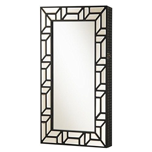 Coaster Wall Mount Jewelry Armoire Mirror in Black by Coaster Home Furnishings