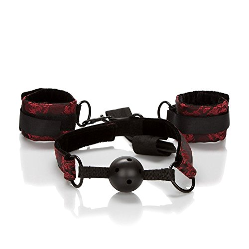 CalExotics Scandal Breathable Ball Gag with Cuffs – BDSM Fetish Play Toy Gag & Handcuff Set for Couples – Sexy Bondage Restraint Lingerie - Black by CalExotics