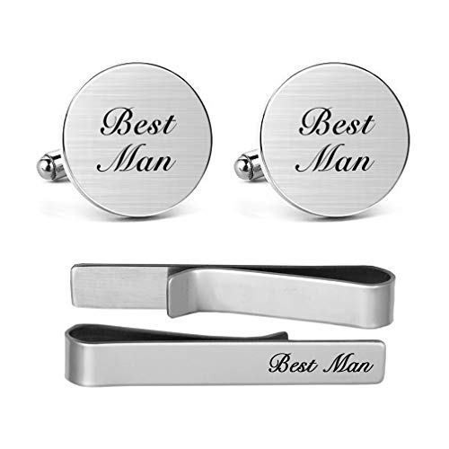 - MUEEU Best Man Cuff Links Tie Clips Round Wedding Engraved Accessories Groom Groomsman Jewelry Gifts