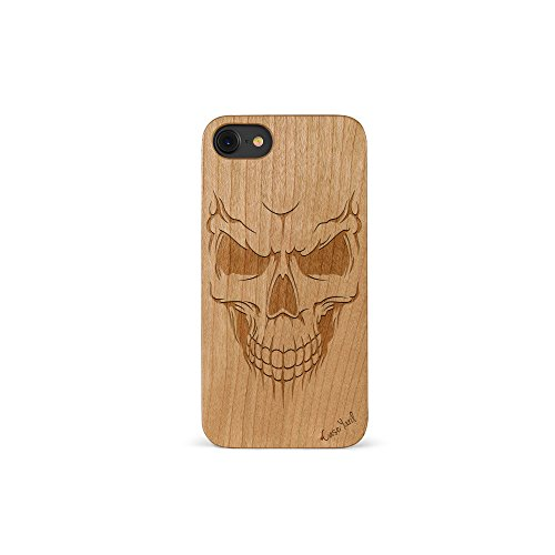 (iPhone 7 Case, CaseYard [Wood Series] Slim Fit Stylish Hybrid Case for Apple iPhone 7,Lightweight Premium Protective Case(Cherry)-Scary Skull)