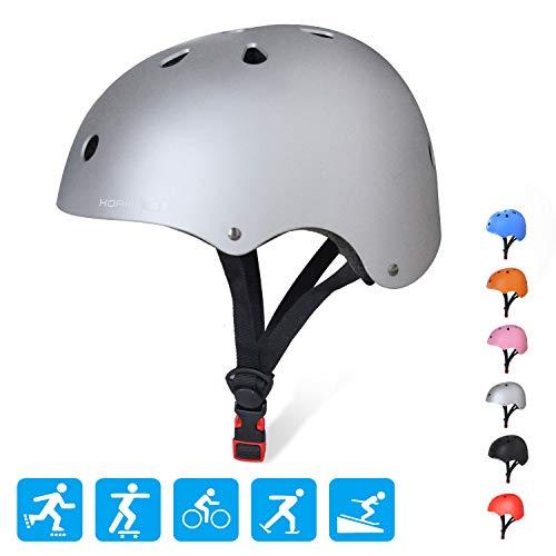 KORIMEFA Adult Bike Helmet Adjustable CPSC Certified Multi-Sport Safety Cycling Skateboard Scooter Helmet,Sliver L ()