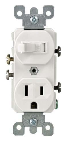 Switched Double Wall Light - Leviton 5225-WSP Combo Switch and Receptacle, White