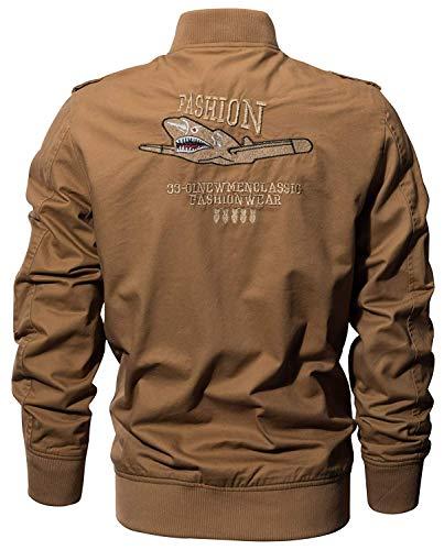 Autunnale Bomber Giubbino Lunga Khaki Da Betrothales Uomo Cotone Manica Con Cerniera Pilota Giacca Giubbotto Classico In w4aw1xTcCq