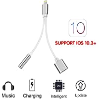 ZALALY 2 in 1 Lightning Adapter-3.5mm Jack Audio Headphone Charger Adapter,Fast Charging Lightning Cable Connector for iphone 7/7Plus SUPPORT iOS 10.3 Automatic Upgrade(Sliver)