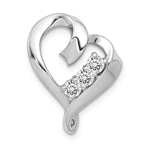 - Jewels By Lux 14K White Gold Aa Diamond Heart Pendant