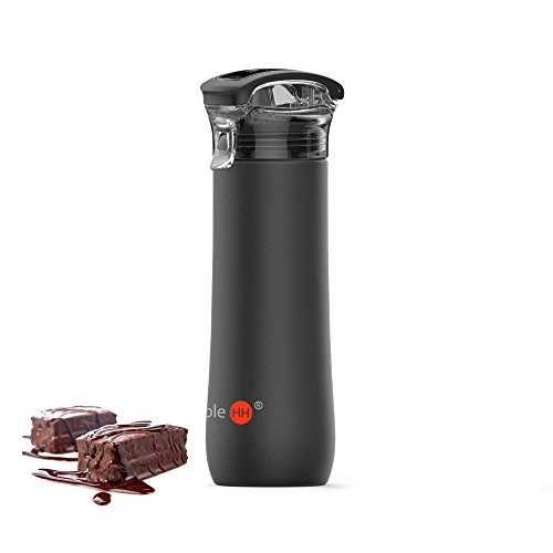 SimpleHH 23OZ Double Wall Vacuum Insulated Stainless Steel Leak Proof Sports Water Bottle With Locking Flip Top Lid And Carrying Handle, Black