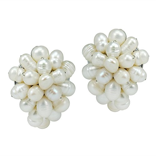 Elegant Forest Cultured Freshwater White Pearl Grape Base Metal Clip On Earrings -