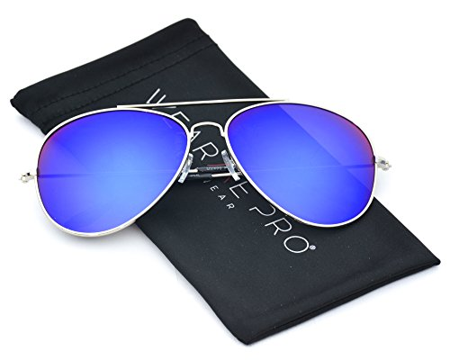 Classic Iconic Retro Blue Green Mirrored Lens Aviator Sunglasses