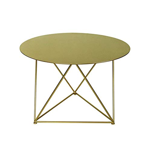 HANSHAN Side Table Coffee Table, Corner Table Wrought Iron Small Apartment Living Room Sofa Round Table Golden Creative Side Table Simple Modern 28 × 19 Inch