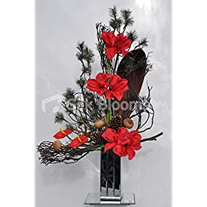 Silk Blooms Ltd Artificial Fresh Touch Red Amaryllis Floral Arrangement w/Green Spruce and Pinecones 5