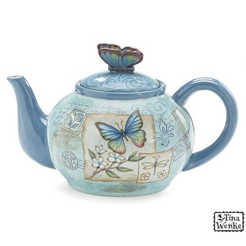 Butterfly Garden 40 Oz Teapot with Butterfly on Top Designed by Artist Tina Wenke
