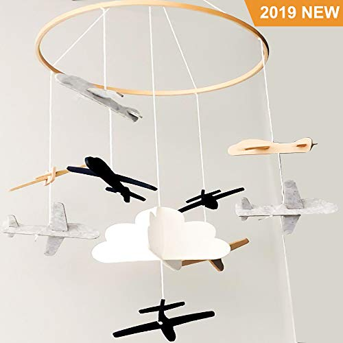 Jolik Baby Crib Mobile Airplanes Cloud Nursery Decoration, Felt Crib Mobile for Boys or Girls (2019 New Design) (Baby Mobiles Airplane)