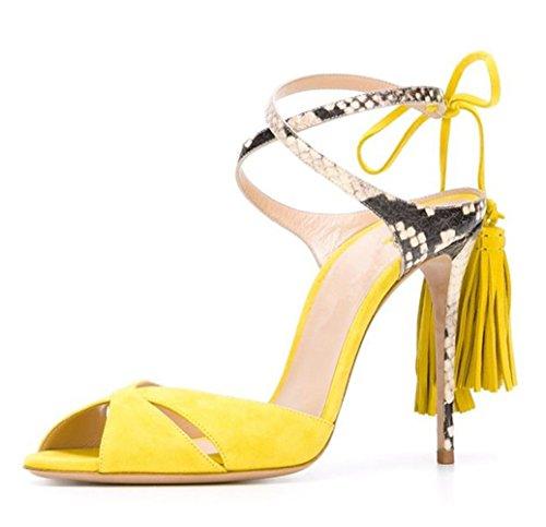 Shoes Stiletto Fringe Women Peep Heels Honeystore Tassel Pumps Sandals Toe Yellow Pzanz4RO