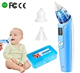 Electric Baby Nasal Aspirator - Battery Operated Nose Cleaner and Snot Sucker - Adjustable Settings and Reusable Tips with LCD Screen