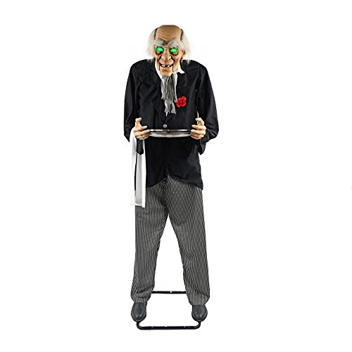[Life Size Animated Butler Man With Candy Tray Prop Spooky Haunted Halloween Party Decoration] (Life Size Halloween Butler)