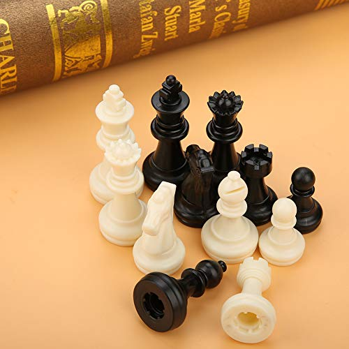 Zerodis Chess Pieces,32PCS Black&White Standard International Staunton Chess Game Pieces Set Without Chessboard Complete Spare or Replacement Pieces Gift Interactive Toy